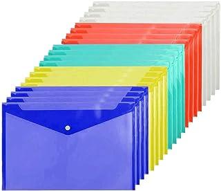 Poly Envelope Folder A4 with Snap Button Closure, 20 Packs,Premium Quality Plastic Envelopes,Waterproof Transparent Projec...