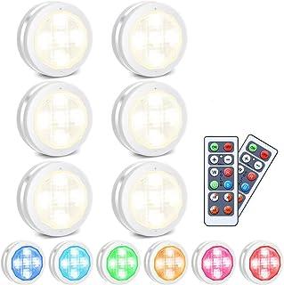 RGB skåplampor LED nattlampa med fjärrkontroll 6, Skåpbelysning 10 dimningsnivåer 4 tidsfunktion, Batteridriven för inredn...