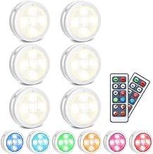 LED kastverlichting, SOLMORE RGB LED nachtlamp met afstandsbediening, kastverlichting 10 dimniveaus, 4 timingfunctie, batt...