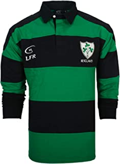 Irish Rugby Shirt Men, Green Blue Shamrock Crest, Irish Fan Shirt.
