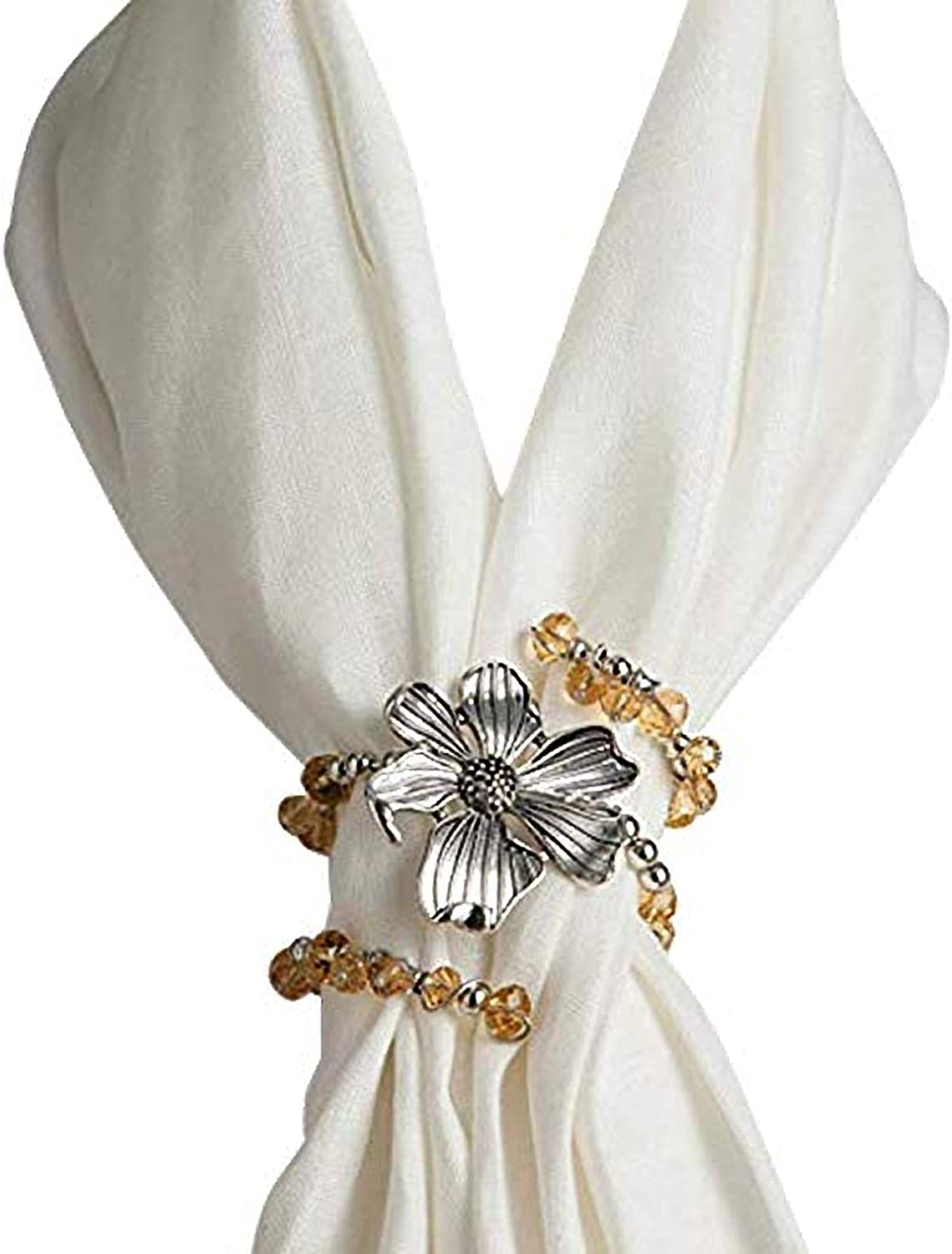 DEMDACO Floral Silver and Amber Beaded One Size Women's Zinc Alloy Scarf Twist