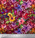 Soimoi Rot Georgette Viskose Stoff Blume & Blätter