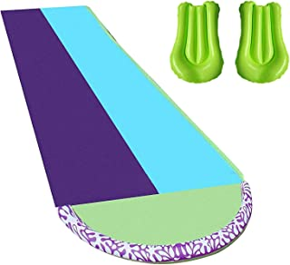 BuYour Giant Lawn Water Slide Slip,Double Racing Slide with surfboards and Water Spraying Side Rails Summer Outdoor Toys