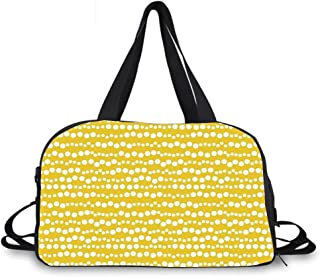 Yellow and White Personality Travel Bag,Modern Design Bubble Inspired Stripe Lined Circles Rounds Decorative for Travel Airport,One_Size