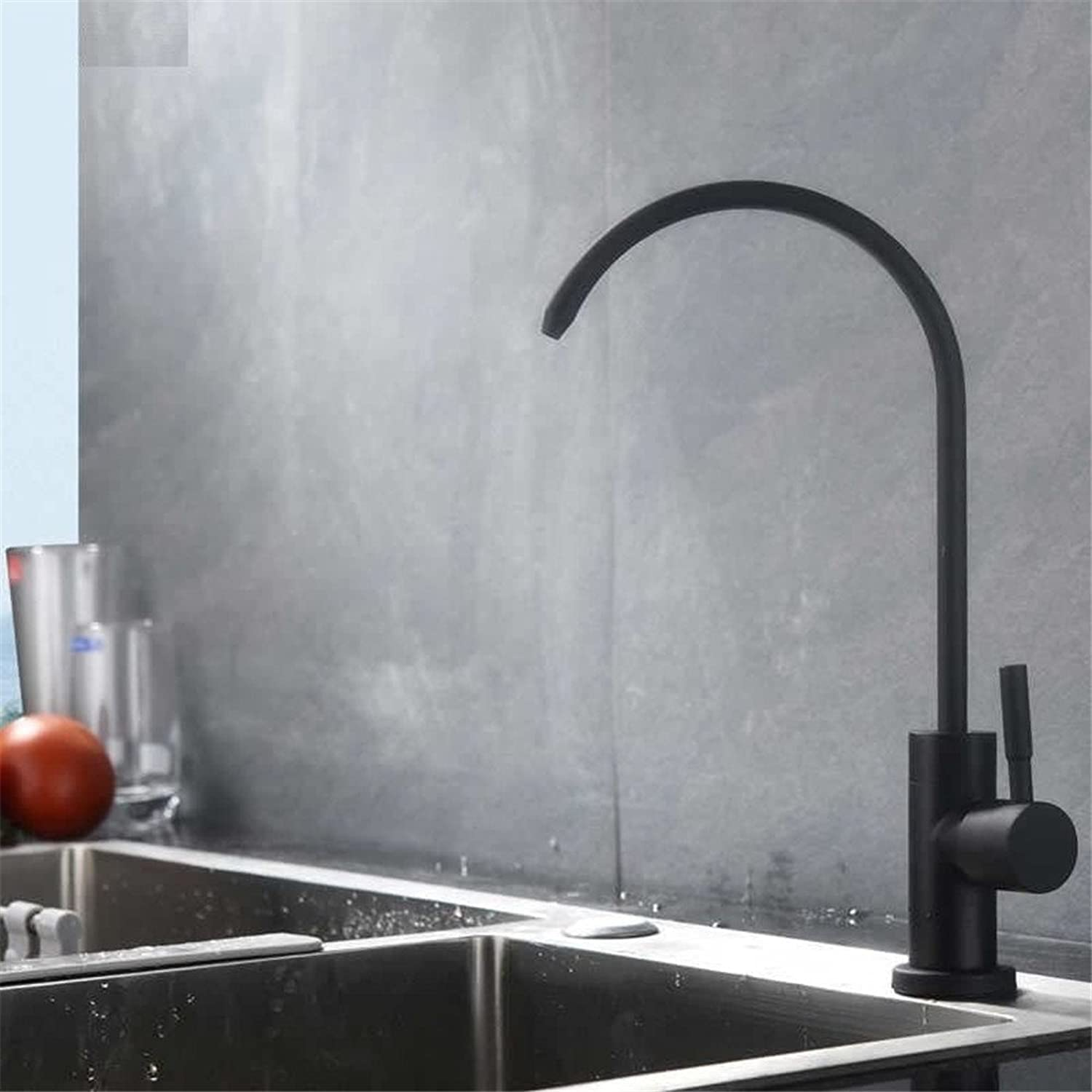 Mucert Tap,Straight Drinking Tap,Stainless Steel,Black,Kitchen Basin Faucet