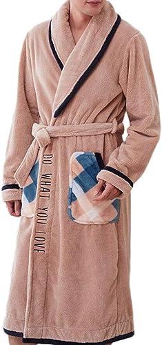 DAFREW Pyjamas pour Hommes, Robe de Nuit Chaude épaissie en Flanelle Peignoir Confortable (Couleur   marron, Taille   M)