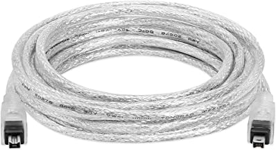 Cmple - 15FT FireWire Cable 4 Pin to 4 Pin Male to Male iLink DV Cable Firewire 400 IEEE 1394 Cord for Computer Laptop PC to JVC Sony Camcorder - 15 Feet Clear