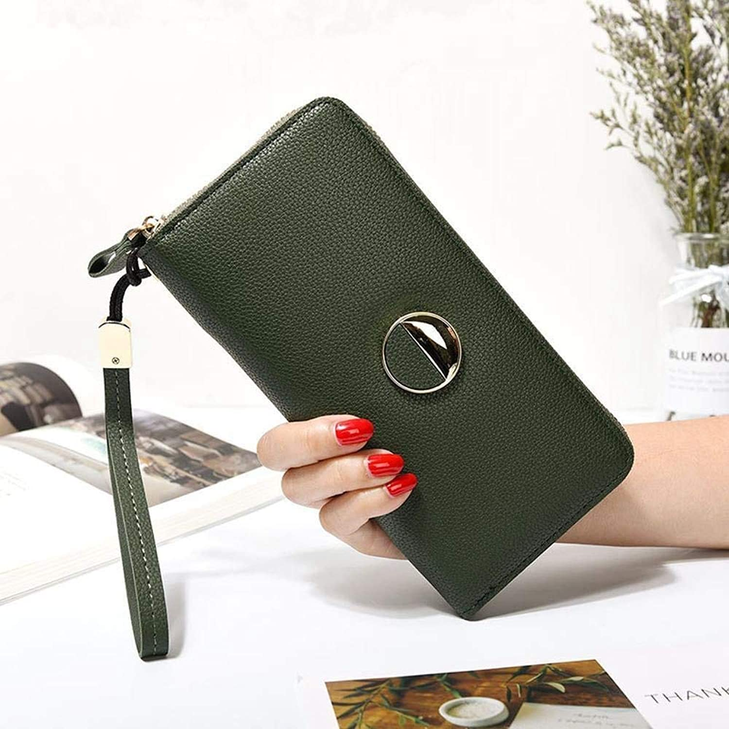 Girls Purse Women's Wallet,Women's Large Wallet Zipper Wallet Bill Clamp Multifunctional Hand Bag PU Leather (color   A)