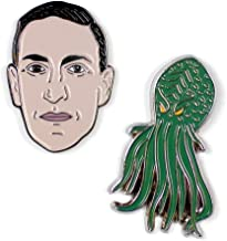 The Unemployed Philosophers Guild H. P. Lovecraft and Cthulhu Enamel Pin Set - 2 Unique Colored Metal Lapel Pins