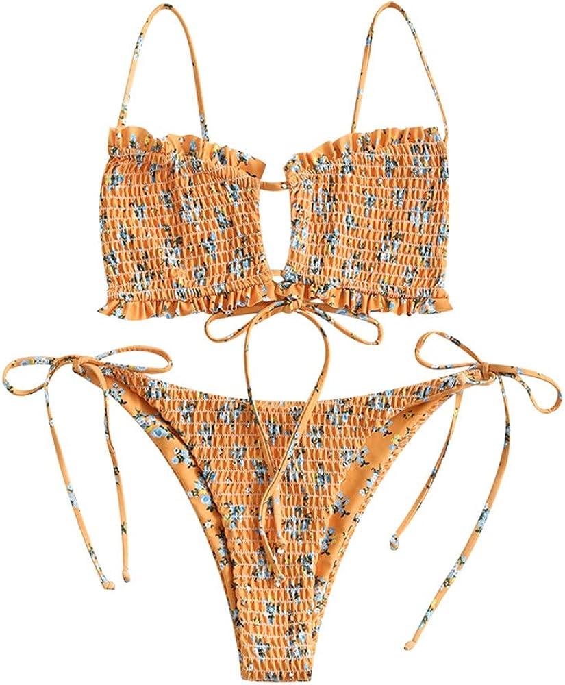 ZAFUL Womens Sexy Braided Ribbed Cutout Bikini Sets
