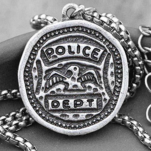 Naswi Collar De Policía Res Mi Héroe con Verbos De Doble Cara, Colgante De Oficial De Policía para Hombres, Joyería con Monedas De Protección para Amigos Y Amigos