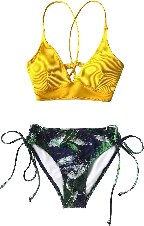 CUPSHE Conjunto de Bikini Lace Up Top Triangular Traje de Ba/ño de Dos Piezas