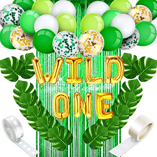 Birthday Decorations Set, include Green Foil Fringe Curtain, Wild One Balloons, Palm Leaves, Latex Balloons, Confetti Balloons, Adhesive Dots and Strip Tape for Party Supplies