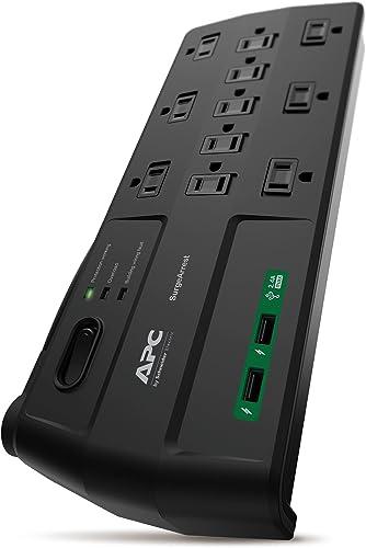 APC Surge Protector with USB Ports, P11U2, 2880 Joule, 6' Cord, Flat Plug, 11 Outlet Power Strip Black