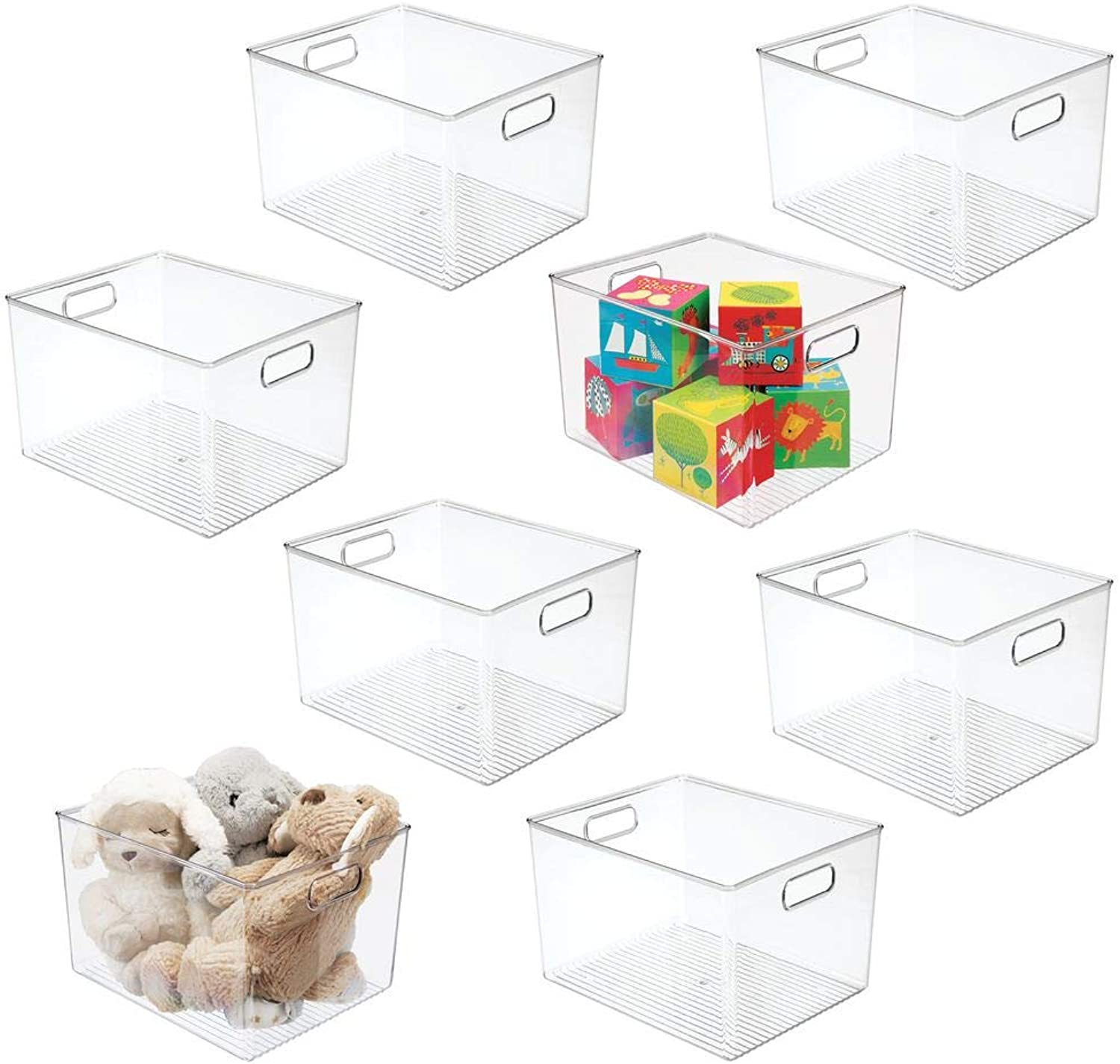 MDesign Deep Plastic Home Storage Organizer Bin for Cube Furniture Shelving in Office, Entryway, Closet, Cabinet, Bedroom, Laundry Room, Nursery, Kids Toy Room - 12  x 10  x 8  - 8 Pack - Clear
