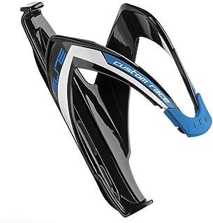 قفص زجاجة مياه مخصص لدراجات السباق (أسود/لامع برسومات زرقاء)