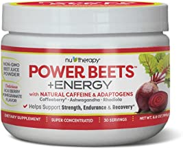 Nutherapy Power Beets Plus Energy, Super Concentrated Non-GMO Beet Juice Powder, with Natural Caffeine and 0 Grams of Sugar, Delicious Acai Berry Pomegranate Flavor, 30 Servings