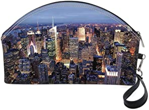 New York Small portable cosmetic bag,Aerial View of NYC Full of Skyscrapers Manhattan Times Square Famous Cityscape Panorama for Women,10.8