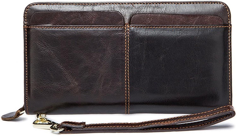 Sumferkyh Brieftasche Doppel-Tasche Herren Brieftasche Lange Brieftasche Multi-Card-Leder Herren Clutch Bag Ledergeldbörse für Krotitkarten, Ausweise B07KRSZLSQ