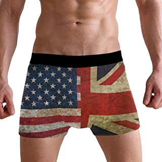 MOFEIYUE Men's Boxer Briefs British Flag American Soft Short Underpants Underwear for Men Boys