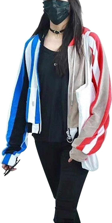 Striped Zipper Hoodies Women color Block Hooded Sweatshirt Cardigan Jacket Coat