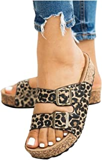 Women Summer Flats Slipper Sandals, Ladies Girls Open Toe Leopard Printed Fashion Buckle Sandals Beach Shoes