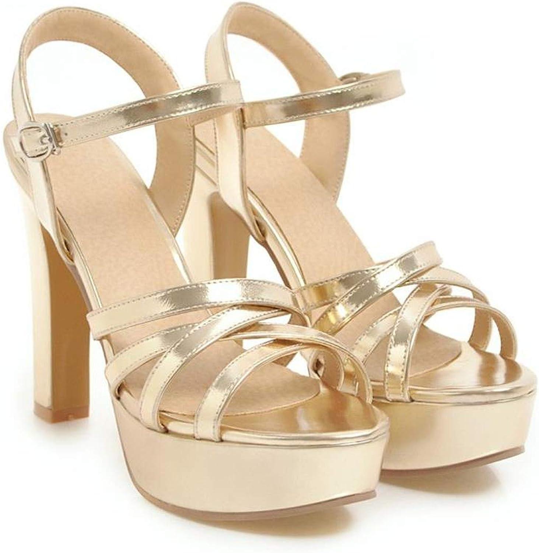 YuJi Women Sandals High Heels Platform shoes Summer Sandals Spike Heel Wedding shoes Bridal,gold,5
