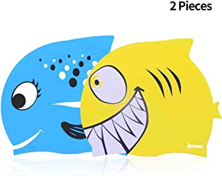 8de81c83 ipow 2 PCS - Gorros de natación para niños Silicona no tóxica  Antideslizante, Impermeable,