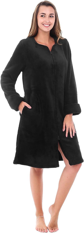 Alexander Del Rossa Womens Fleece Robe, MidLength ZipFront Bathrobe