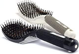 Baasha Curved Vent Brush Hair Brush Set of 2 Black & White, Detangling Hair Brush for Curly Hair, Large Boar Bristle Vent Brush For Blow Drying for Women, Curved Hair Brush Vented With Boar Bristle