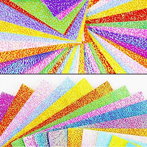 UPlama 400 Sheets 10CM Shiny Rainbow Origami Paper, Square Origami Paper, Decoration Paper, Glitter Square Folding Paper…