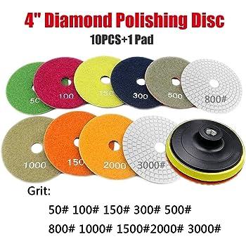 Diamant Tampons de polissage Lot de 8/disques de polissage Accessoires polisseuse Roue de pierre Grit pour Granite Marbre b/éton Pierre 10,2/cm