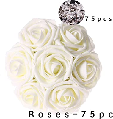 Amazon Com Carreking Artificial Flowers Roses 75pcs Real Looking