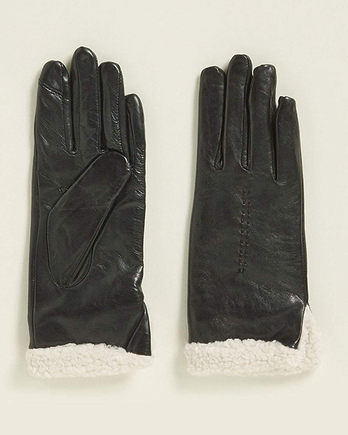 FOWNES BROTHERS Leather & Sherpa Black/White Gloves Women's M