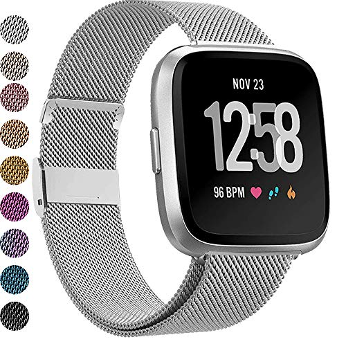 MEFEO Compatible with Fitbit Versa Bands, Stainless Steel Metal Band Mesh Bracelet with Strong Magnet Lock Wristbands Replacement for Fitbit Versa/Versa 2/Versa Lite/SE (Silver, Small)