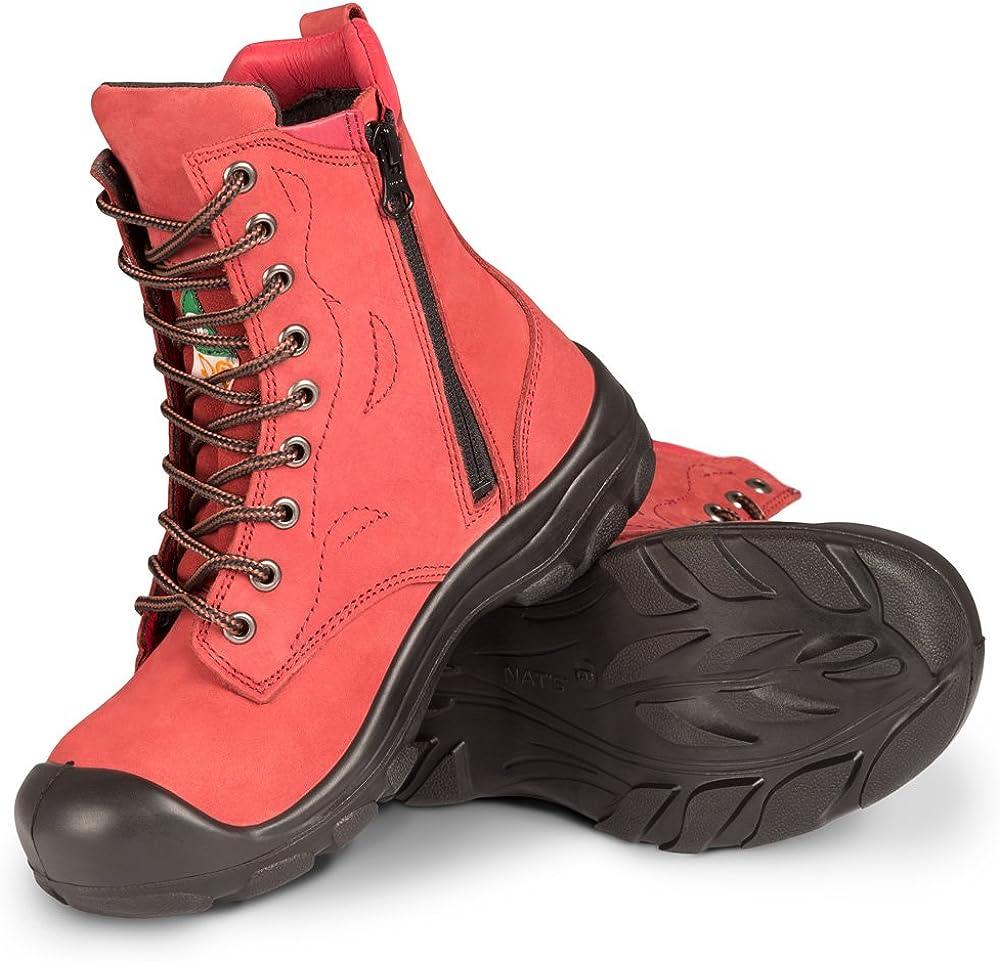 Women's Steel Toe Work Boots   Red   8