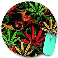 KAPANOU ラウンドマウスパッド カスタムマウスパッド、ラスタファリアンカラーガンジャのマリファナ大麻からの緑の漫画ラスタ要約、PC ノートパソコン オフィス用 円形 デスクマット 、ズされたゲーミングマウスパッド 滑り止め 耐久性が 200mmx200mm