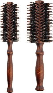 Frcolor Cepillo de pelo de 2 piezas con cerdas naturales, mango de madera redondo, peine para el cabello para el secado por soplado, alisado (tamaño S y tamaño L)