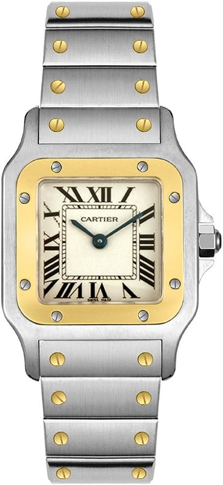 Orologio Santos de Cartier unisex  Cassa in acciaio, lunetta in oro giallo 18 carativetro zaffiro W20012C4
