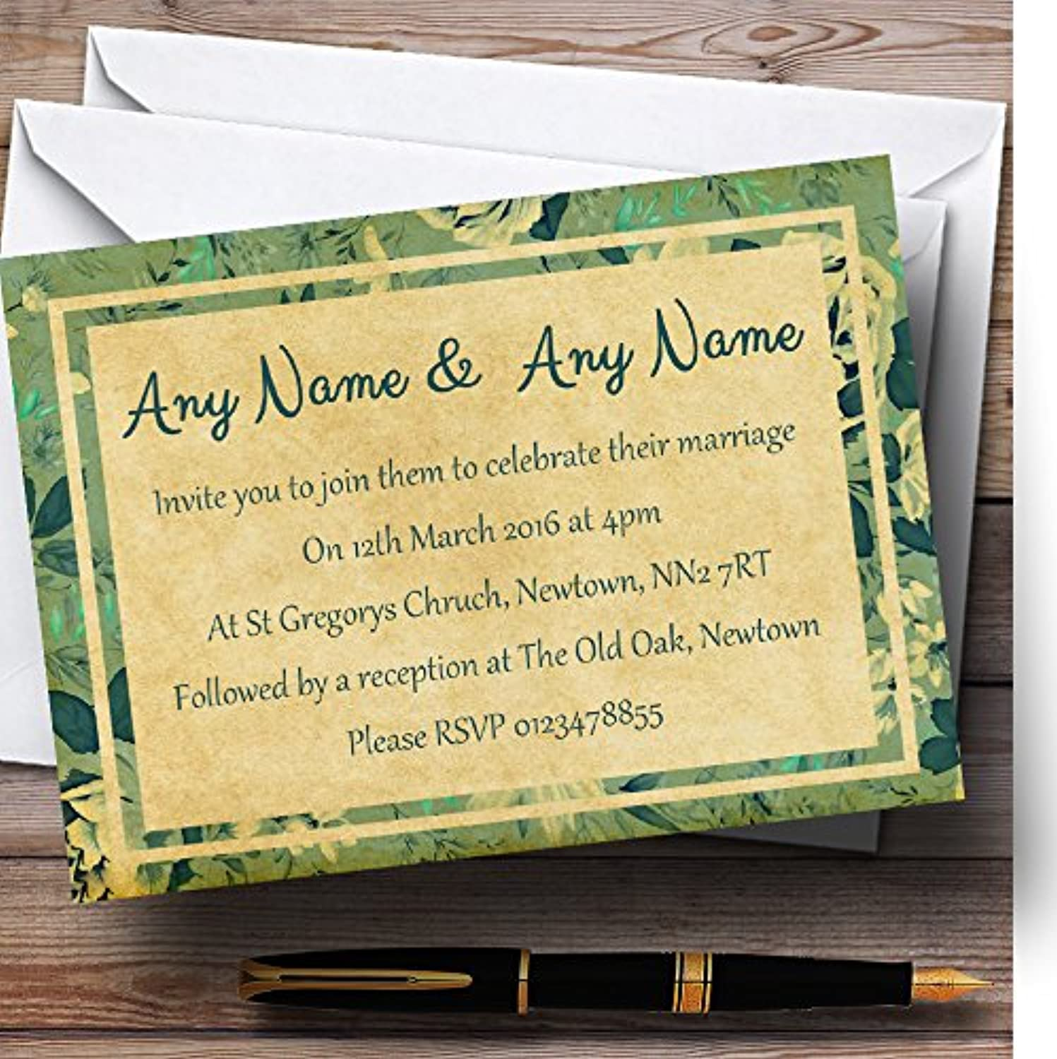 Vintage bluee Turquoise Floral Postcard Style Personalised Evening Reception I...
