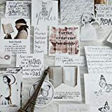 BLOUR 17 Uds, Pegatina en inglés Vintage, Libro Retro, Etiquetas de Belleza, Material de Marco, Pegatina para el Diario, Pegatinas para álbum de Recortes, Plan de Diario Ablum