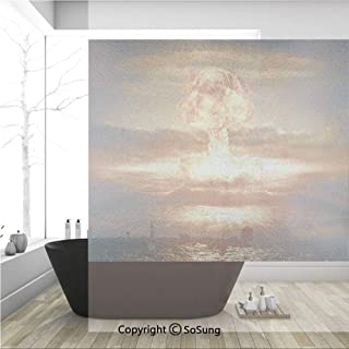 3D Decorative Privacy Window Films,Bomb in the Ocean Fusion Radioactive Weapon Apocalypse Illustration Print Decorative,No-Glue Self Static Cling Glass film for Home Bedroom Bathroom Kitchen Office 36