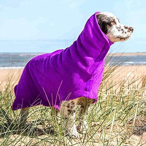 GZDDG Dog Bathrobe Towel, Pet Drying Moisture Absorbing Bath Robe, Adjustable Microfibre Dog Bathrobe Fast Dry Dressing Gown Quick Drying Pajamas Toweling Super Absorbent Pet Robe Coat(S-Purple