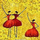 Ölgemälde Auf Leinwand Handgemalt Abstract Abbildung Malerei, Drei Ballerinas In Rot, Vintage Orientalische Moderne Ursprüngliche Kunst Für Erwachsene Wohnzimmer Schlafzimmer Haus Wand...