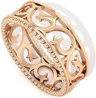 Anillo de boda con cuentas de hoja Art Deco, trabajo abierto apilable, anillo de eternidad, anillo ancho de compromiso para novia, anillo de compromiso, anillo de compromiso para mujer