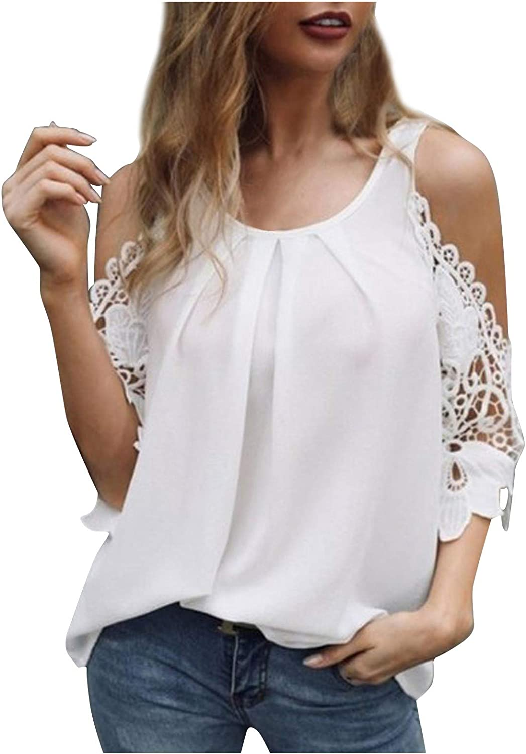 Super-cheap Women's Short Sleeve Cold Shoulder O Neck Casual Tops Price reduction Halt Tunic