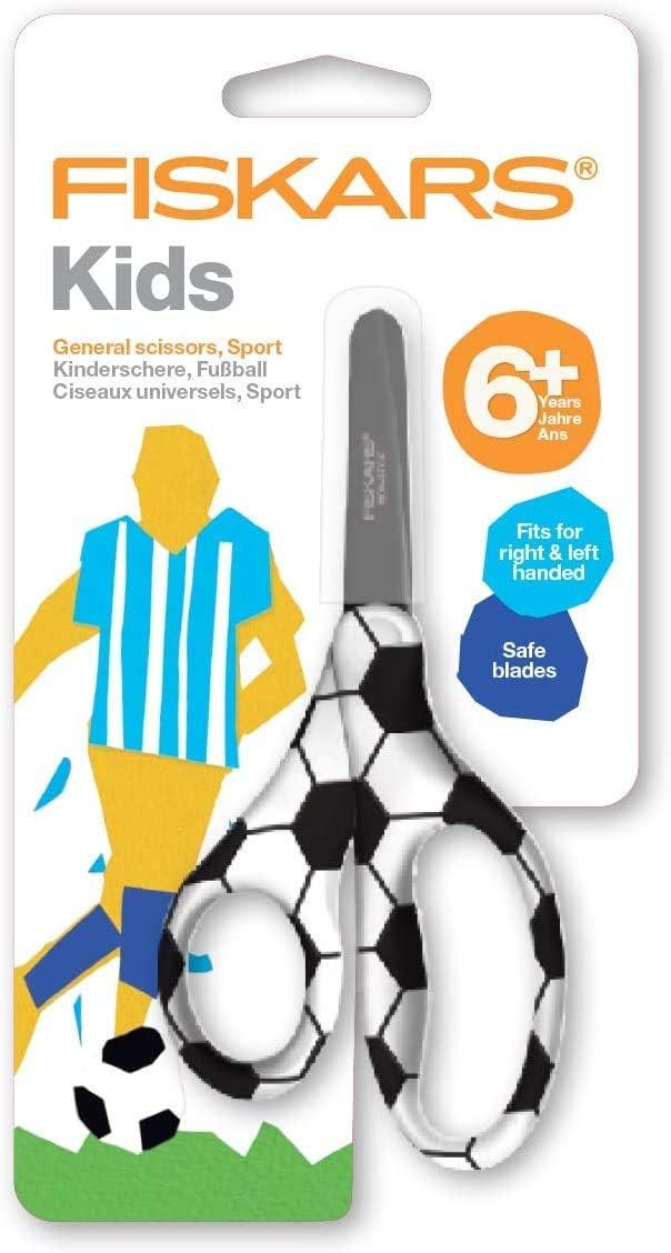 Fiskars Kids Scissors Length: 13 cm Basketball Orange For Right- and Left-handed People Stainless Steel Blade//Plastic Handles 1023912 For 6+ Years old