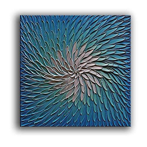 Abstract 3D Textured Petali Blu Dipinto Ad Olio Su Tela Wall Art 100% Fatto A Mano Moderna Trama...