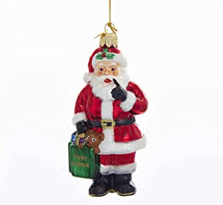 Kurt Adler Kurt S. Adler 4.75-Inch Noble Gems Glass Santa with Shopping Bag Ornament