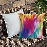 Dekokissen Kissenhülle,Regenbogen, vertikale diagonale und kreuzweise Linien in Regenbogen Farbe...